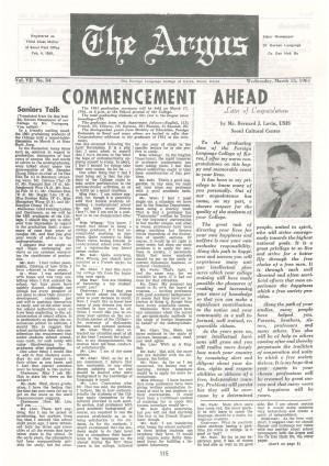 Argus Vol.Ⅶ No.34(Mar. 15. 1961)